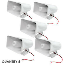 """Quantity 5 Pyle PHSP5 65W 8"""" Indoor / Outdoor PA Horn Speaker W/ Hardware White"""