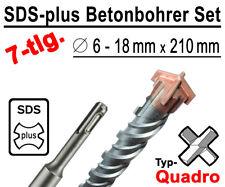 SDS-plus Betonbohrer Set 7-tlg Quadro Bohrer Hammerbohrer 6mm - 18mm x 210mm