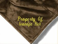 Personalized Monogrammed Throw Blanket w/ Embroidery Grandpa Blanket
