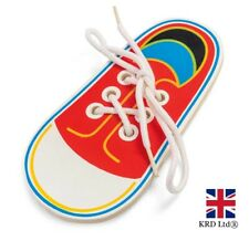 Kids WOODEN LACING SHOE Learn To Tie Laces Practice Threading Toy Gift T21914 UK