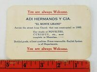 Vintage El Monte Libano Novelties Curious Mazatlan Mexico Business Card