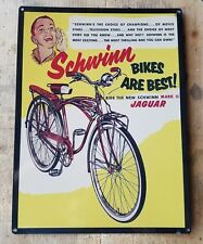 Schwinn Jaguar mark II bicycle vintage bike ad steel sign reproduction