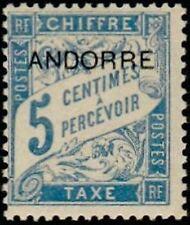 "ANDORRE FRANCAIS STAMP TIMBRE TAXE N° 1 "" TIMBRE DE 1893 5c "" NEUF xx TTB"