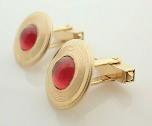 Vintage Anson Gold Filled Red Cabochon Mens Cufflinks