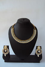 Indian Bollywood Ethnic Designer Fashion Pearl Kundan Jewelry Neclace Set