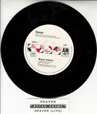 "BRYAN ADAMS  Heaven 7"" 45 rpm vinyl record + juke box title strip"