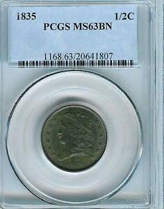 1835 Classic Head Half Cent : PCGS MS63BN