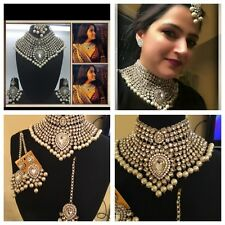 Indian Bollywood Arpita Khan Bridal Clear & Pearl necklace set, earrings & Tikka