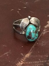 Vintage Navajo sterling silver spiderweb turquoise ring size 6, 4g FREE SHIPPING