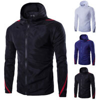 Men's Hooded Rain Coat Sports Waterproof Windproof Jacket Hiking Outwear Coat