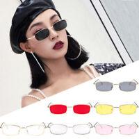 Women Fashion Vintage Glasses Square Shades Small Rectangular Frame Sunglasses