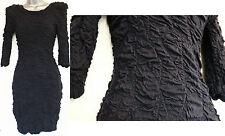 River Island Navy Crinkled Knee Length 3/4 Sleeves Stretch Shift Dress UK 6 EU34
