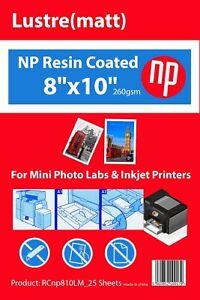 8x10 Matt / Lustre Premium 25 Sheets Photo Paper 260gsm