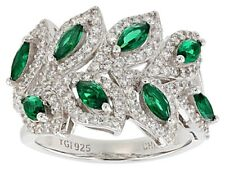 Chrome Diopside & white Zircon Marquise & round cut Leaf Ring Sterling silver