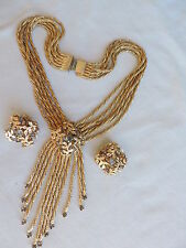 Vintage Rope Twist RUNWAY Rhinestone Necklace Earrings Jewelry Set free shipping