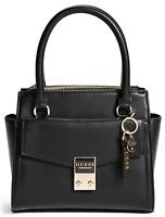 NWT GUESS TESSA HANDBAG Sm/Med Black Logo Satchel Crossbody Shoulder Bag GENUINE
