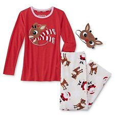 Rudolph the Red Nose Reindeer Pajamas Womens Small Christmas Cotton Bl.+Eye Mask