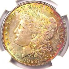 1898 Toned Morgan Silver Dollar $1 - Certified NGC MS63 - Rainbow Toning!