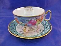EXQUISITE THREE FOOTED TEA CUP AND RETICULATED SAUCER - VINTAGE