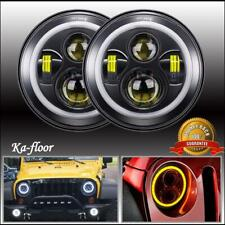 2x 7 Inch Round LED Headlight Halo Ring Projector For 1975-1979 Ford F-150 Black