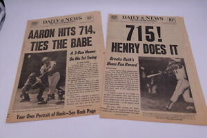 1974 New York Daily News Newspapers Hank Aaron Ties and Breaks Ruths Record-BOTH