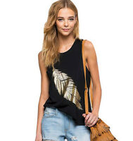 New Fashion Womens Leaf/Letter Pattern Summer Loose Vest Casual Tank T-Shirt