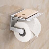 Raum Aluminium Toilettenpapierhalter mit Ablage WC Wandhalterung Klorolle Neu