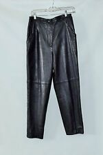 "Suzelle Black High Quality Lambskin Leather Womens Pants Inseam 27"" Size 10"