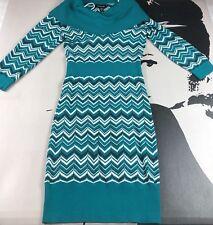 Bebe Womens Blue Green Dress Pointelle Chevron Knit Cowl Neck Bodycon Medium
