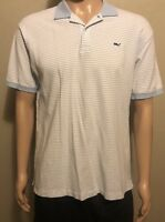 Men's Vineyard Vines Short Sleeve Polo Shirt White Baby Blue Striped Medium
