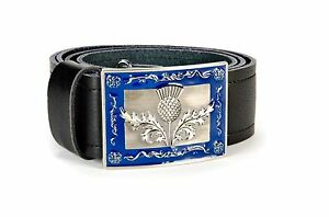 Heraldic Thistle Leather Kilt Belt and Buckle MG5 Antique + Blue