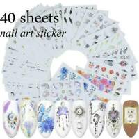 40 Sheets 3D Nail Art Transfer Stickers Various Decal Manicure Decoration Tips