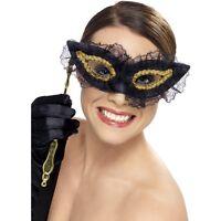Womens Fastidious Eye Mask & Stick Fancy Dress Costume Masquerade Venetian Black