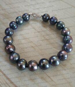 "7.5-8"" Charming AAA 10-11mm natural south sea baroque black pearl bracelet 14k"
