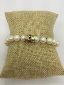 14K Yellow Gold White Pearl Spinel Bracelet (19.1g)