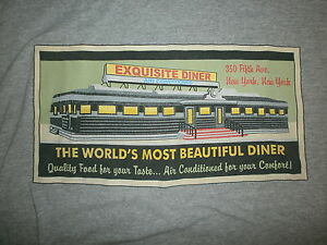 EXQUISITE DINER T SHIRT Worlds Most Beautiful Art Deco Empire State Building NY