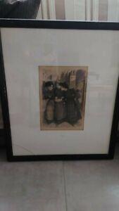 Théophile Alexandre STEINLEN, lithographie, la rencontre, romantique art nouveau