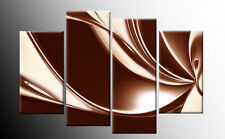 """BROWN AND CREAM ABSTRACT CANVAS PICTURES  WALL ART SPLIT MULTI rdy 2 hang  40"""""""