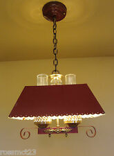 Vintage Lighting pair 1940s red pendants   Ideal for rustic cabin