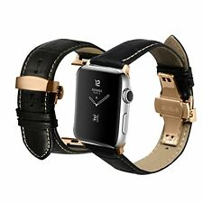 iStrap Black Alligator Calf Leather Band w/ Rose Gold Clasp for Apple Watch 42mm
