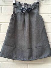 Mothercare Dress 6-9 Months Silver Velvet Bow Front