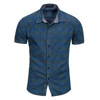 Mens Casual Short Sleeves Shirts Luxury Dress Polka Dot Slim Fit Cotton SD154