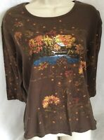 ENDLESS DESIGNS Womens XL Top 3/4 Sleeve Autumn Trees Mill Embellished Brown