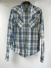 Hollister California L Mens Slim Fit Pearl Snap Blue Plaid L/S Western Shirt