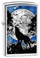 Wolf Moon Howling Canis Lycaon Polished Chrome Zippo Lighter