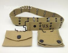 WWII WW2 US ARMY CANVAS BELT & FIRST AID KIT POCKET & COMPASS POUCH