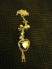 """Silver Tone Necklace with Grey Heart & Black Clear Beads Pendant - 26-28"""" long"""