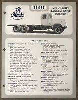 1972 Mack R711RS original Australian sales brochure