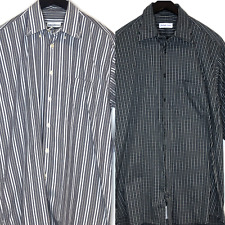 Lot 2 Bullock & Jones Button down up dress shirts striped M cotton plaid USA