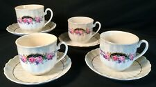 Vtg Germany Fine China Cups Saucers Roses Lusterware Numbered Set Of 4
